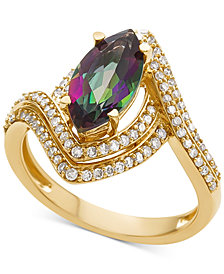 Mystic Topaz (1-1/3 ct. t.w.) & Diamond (1/2 ct. t.w.) Ring in 14k Gold
