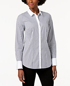 Charter Club Striped Contrast-Trim Shirt, Created for Macy's