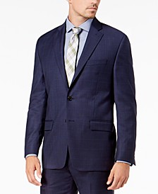 Men's Classic-Fit UltraFlex Stretch Blue Check Suit Jacket