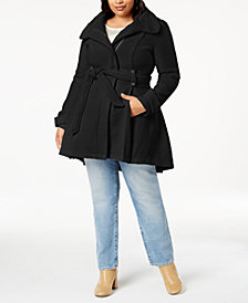 Madden Girl Juniors' Plus Size Belted Wrap Coat