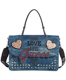 GUESS In Love Top Handle Denim Shoulder Bag