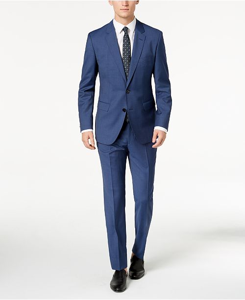 2bcac8cb ... Hugo Boss HUGO Men's Modern-Fit Navy Micro-Tic Suit Separates ...