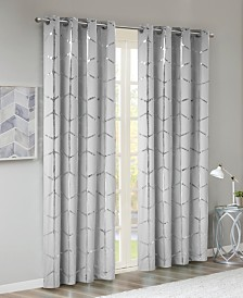 "Intelligent Design Raina Metallic-Print 50"" x 84"" Total Blackout Grommet Window Panel"