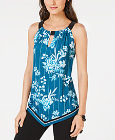 I.N.C. Printed Keyhole Top, Created for Macy's