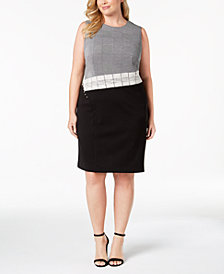 Calvin Klein Plus Size Plaid Patchwork Sheath Dress