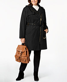MICHAEL Michael Kors Plus Size Asymmetrical Hooded Trench Coat