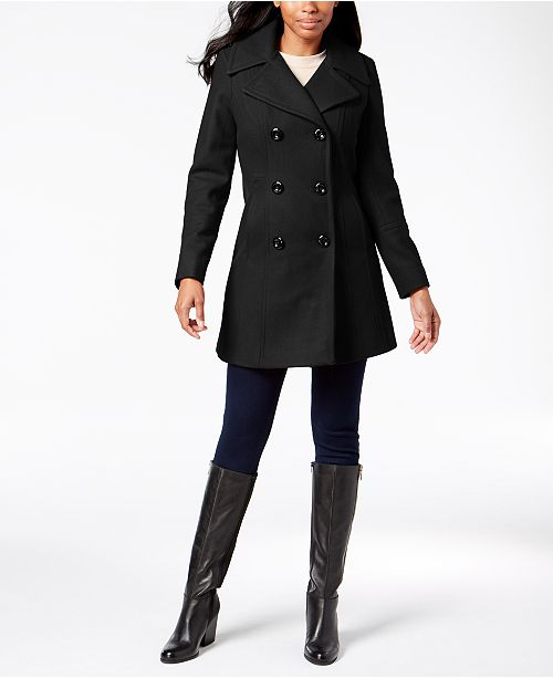 Anne Klein Petite Double-Breasted Wool Peacoat