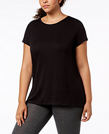 Ideology Plus Size Cutout-Back T-Shirt, Created for Macy's