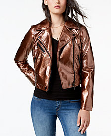 Collection B Juniors' Cropped Faux-Leather Moto Jacket