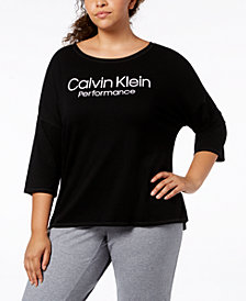 Calvin Klein Performance Plus Size Logo High-Low 3/4-Sleeve T-Shirt