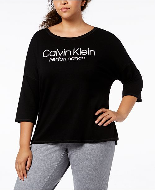 9075dd47431 Calvin Klein Performance Plus Size Logo High-Low 3 4-Sleeve T-Shirt