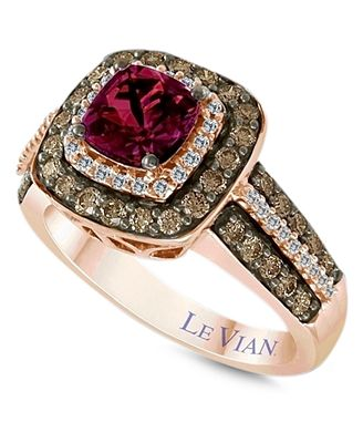 Le Vian Raspberry Rhodolite Garnet 1 ct t w and White and