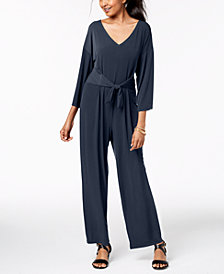 NY Collection Petite Tie-Waist Wide-Leg Jumpsuit