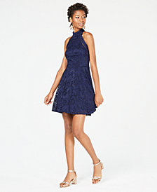 B Darlin Juniors' Lace Fit & Flare Dress