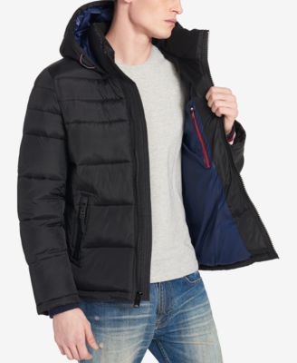 Tommy Hilfiger Men/'s Royal Combo Quilted Puffer Hooded Jacket $225