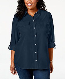 Charter Club Plus Size Cuffed-Sleeve Shirt, Created for Macy's
