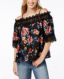 BCX Juniors' Floral-Print Lace-Trim Top
