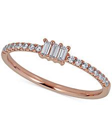 Diamond Triple Baguette Ring (1/4 ct. t.w.) in 14k Rose Gold