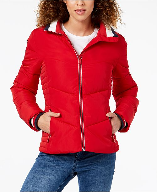 b2897757d Tommy Hilfiger Chevron Quilted Puffer Coat & Reviews - Coats - Women ...