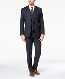 Lauren Ralph Lauren Men's Classic-Fit UltraFlex Stretch Charcoal/Blue Pinstripe Vested Suit Separates