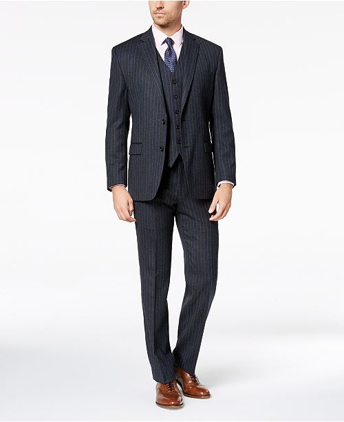 8524f0ac2 Men's Classic-Fit UltraFlex Stretch Charcoal/Blue Pinstripe Vested Suit  Separates
