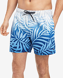 "Tommy Hilfiger Men's Ombre Leaf-Print 6.5"" Swim Trunks, Created for Macy's"