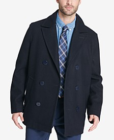 Men's Big & Tall Peacoat with Scarf