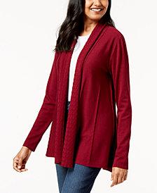 Karen Scott Shawl-Collar Pointelle Cardigan, Created for Macy's