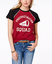 Rebellious One Juniors' Cotton Procrastination Graphic T-Shirt