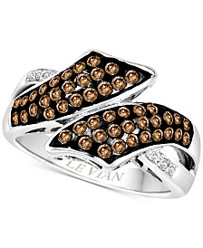 Le Vian Chocolatier® Diamond Bypass Ring (5/8 ct. t.w.) in 14k White Gold