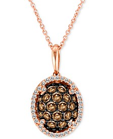 "Le Vian Chocolatier® Diamond Oval Cluster 18"" Pendant Necklace (3/4 ct. t.w.) in 14k Rose Gold"