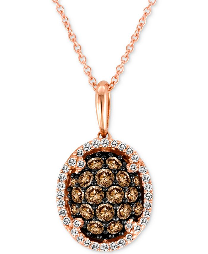 """Le Vian - Diamond Oval Cluster 18"""" Pendant Necklace (3/4 ct. t.w.) in 14k Rose Gold"""