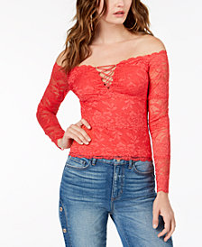 GUESS Cori Lace-Up Lace Top