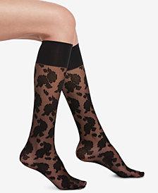 HUE® Sheer Floral Knee-High Socks