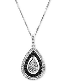 "Exotics® Diamond Teardrop Cluster 18"" Pendant Necklace (3/4 ct. t.w.) in 14k White Gold"