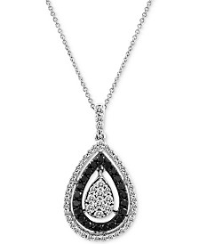 "Le Vian Exotics® Diamond Teardrop Cluster 18"" Pendant Necklace (3/4 ct. t.w.) in 14k White Gold"
