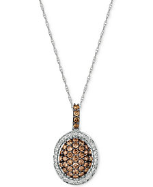 "Le Vian Chocolatier® Diamond Oval Cluster 18"" Pendant Necklace (3/4 ct. t.w.) in 14k White Gold"