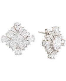 Giani Bernini Cubic Zirconia Square Cluster Stud Earrings in Sterling Silver, Created for Macy's