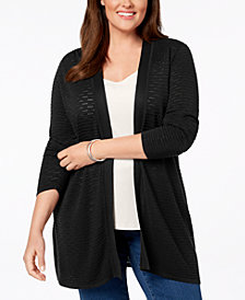 Charter Club Plus Size Open-Front Ribbed-Knit Cardigan, Created for Macy's