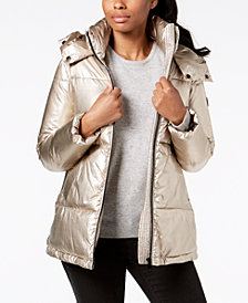 Calvin Klein Hooded Metallic Puffer Coat