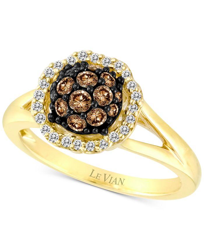 Le Vian - Diamond Halo Cluster Ring (5/8 ct. t.w.) in 14k Gold
