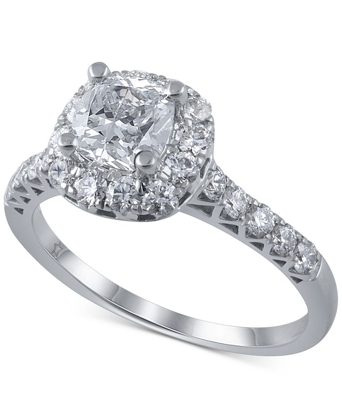 Macy's Star Signature Diamond - Diamond Halo Engagement Ring Ring (1-3/4 ct. t.w.) in 14k White Gold