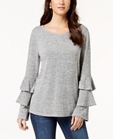 Style & Co Tiered-Sleeve Top, Created for Macy's