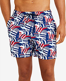 "Nautica Mens Coastal Sail Print 8"" Swim Trunks"