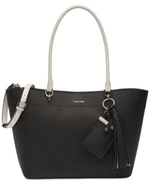 Susan Small Saffiano Leather Tote, Black/White in Black/White/Silver