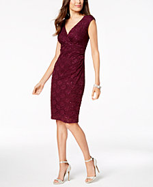 Connected Sequined Lace Surplice Dress