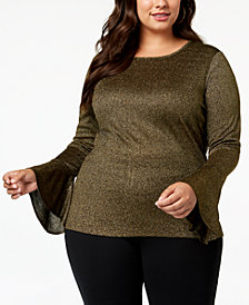 MICHAEL Michael Kors Plus Size Metallic Bell-Sleeve Top