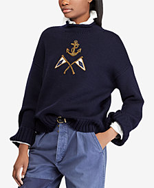 Polo Ralph Lauren Crest Embroidered Wool Sweater