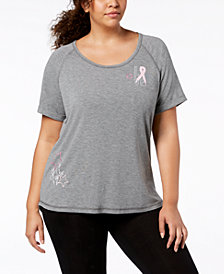 Ideology Breast Cancer Research Foundation Plus Size T-Shirt, Created for Macy's