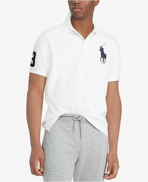Polo Ralph Lauren Men's Big Pony Custom Slim Fit Mesh Polo Shirt, Regular and Big & Tall